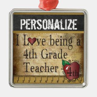 Liebe, die ein 4. Grad-Lehrer | Vintag ist Silbernes Ornament