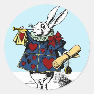 Liebe die weiße Kaninchen-Alice im Wunderland Runder Aufkleber