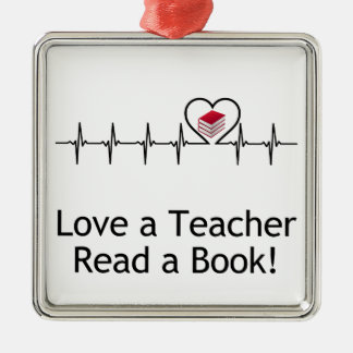 Liebe ein Lehrer Quadratisches Silberfarbenes Ornament