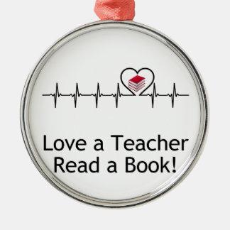 Liebe ein Lehrer Rundes Silberfarbenes Ornament