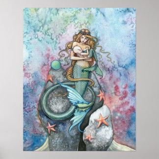 Liebe-ewige Meerjungfrau-Mutter und Baby-Plakat Poster