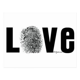 Liebe-Fingerabdruck Schwarzweiss Postkarte