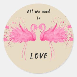 Liebe-Flamingo-Beschreibung Runder Aufkleber