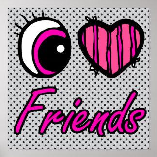 Liebe-Freunde des Emo Augen-Herz-I Poster