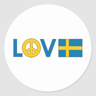 Liebe-Frieden Schweden Runde Sticker