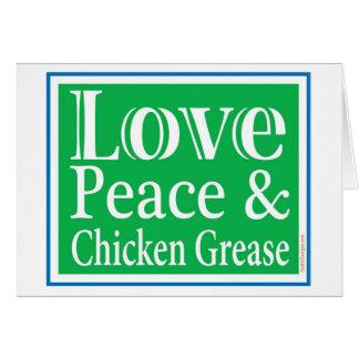 Liebe-Frieden u. Huhn-Fett-Karte Karte