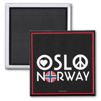 Liebe-Friedensmagnet 4 Oslos Norwegen Quadratischer Magnet