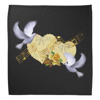 Liebe-Friedenstauben u. Musik-gelbe Rose Kopftuch