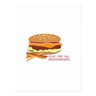 Liebe für alle Cheeseburger Postkarte