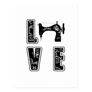 Liebe für das Nähen Postkarte