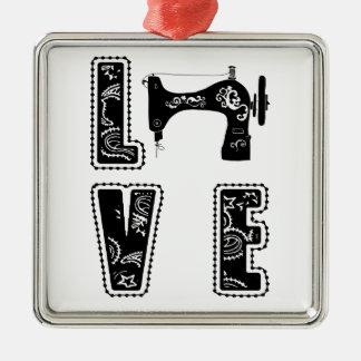 Liebe für das Nähen Quadratisches Silberfarbenes Ornament