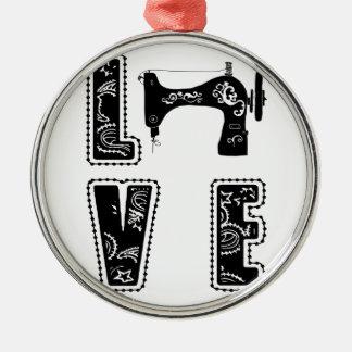 Liebe für das Nähen Rundes Silberfarbenes Ornament