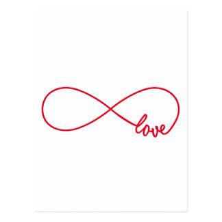 Liebe für immer, rotes Unendlichkeitszeichen, Postkarte