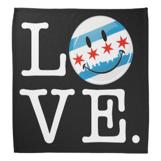 Liebe für lächelnde Flagge Chicagos Halstuch