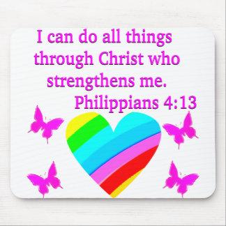 LIEBE GEFÜLLTER PHILIPPIANS-4:13 ENTWURF MOUSEPAD