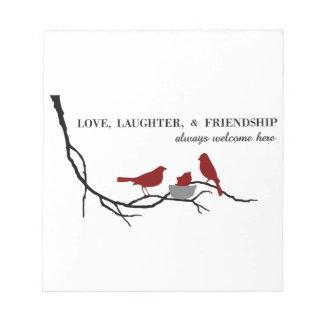 Liebe, Gelächter und Freundschaft Notizblock