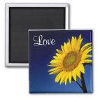 Liebe-gelbe Sonnenblume mit blauer Himmel-Magneten Quadratischer Magnet
