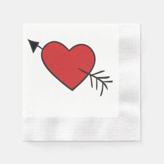 Liebe getroffener Schuss durch das Herz Papierserviette