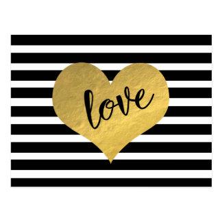 Liebe-Goldherz-Streifen Postkarte