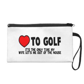 Liebe Golf zu spielen Wristlet Handtasche