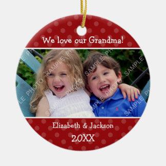 Liebe-Großmutter-rotes Polka-Punkt-WeihnachtsFoto Keramik Ornament