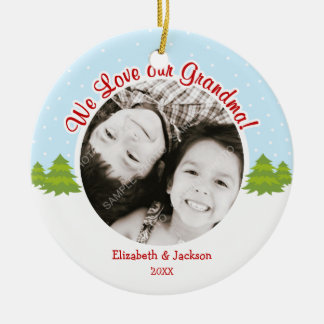 Liebe-Großmutter-Weihnachtsbaum-Schnee-Foto Keramik Ornament