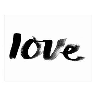 Liebe, handgeschriebene, Schwarzweiss-Postkarte Postkarte
