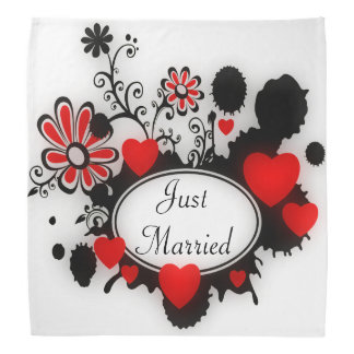 Liebe-Herz-Blume Splats rote Schwarz-weiße Kopftuch