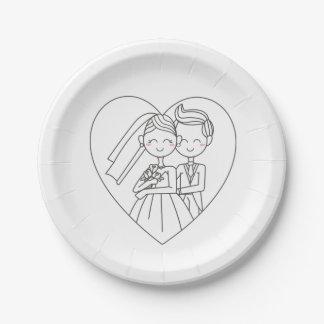 Liebe-Herz-Braut-u. Pappteller