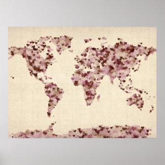 Liebe-Herz-Karte der Weltkarte Plakatdrucke