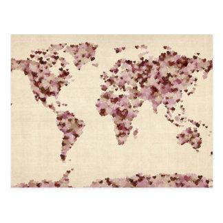 Liebe-Herz-Karte der Weltkarte Postkarte