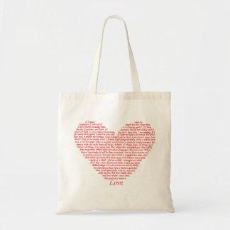 Liebe-Herz-Kunst-Entwurf des Bibel-Zitat-1 der Tragetasche
