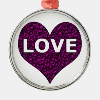 Liebe-Herz-lila Chrom Silbernes Ornament