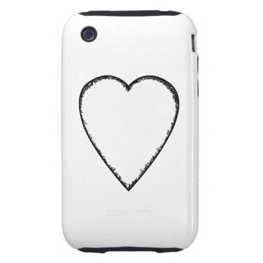 Liebe-Herz mit Gekritzel-Rand iPhone 3 Tough Hüllen