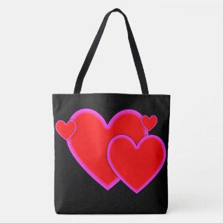 Liebe-Herz-rote lila rosa Grenze auf Schwarzem Tasche