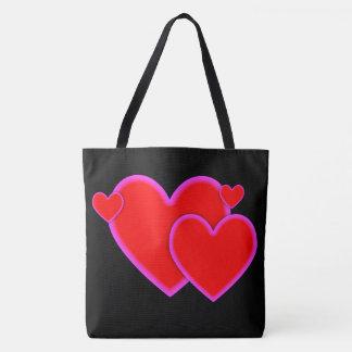 Liebe-Herz-roter lila rosa kundenspezifischer Tasche