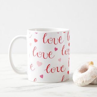 Liebe-Herz-rotes rosa Muster des Valentines Tages Tasse