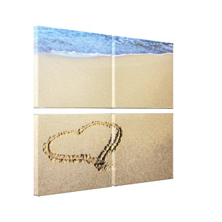 Liebe-Herz-Strand Leinwanddruck