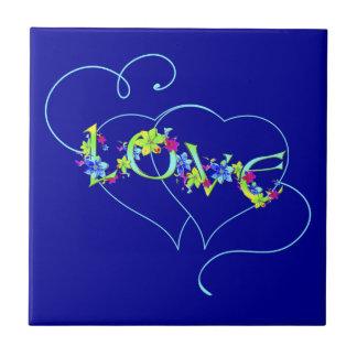 Liebe-Herz-und Blumen-Fliese Kleine Quadratische Fliese