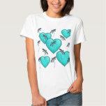 Liebe-Herz-und Libellen-Türkis Hemd