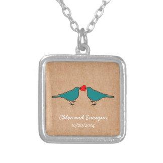 Liebe-Herz und Vögel, die Wedding sind Halskette Mit Quadratischem Anhänger