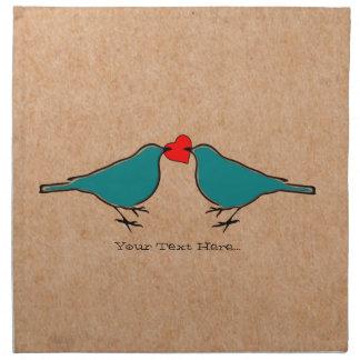 Liebe-Herz und VögelValentines Stoffserviette