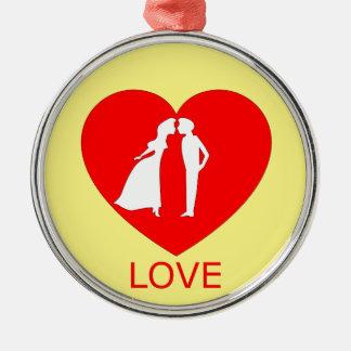 Liebe-Herz-Verzierung Silbernes Ornament