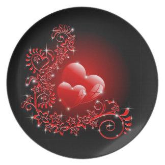Liebe-Herz-Verzierungen Party Teller