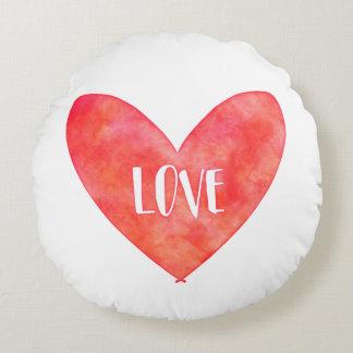 Liebe-Herz-Wasserfarbethrow-Kissen Rundes Kissen