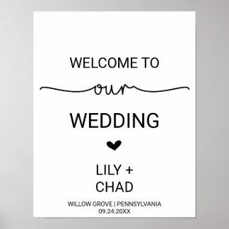 Liebe-Herzen, die Willkommen Wedding sind Poster