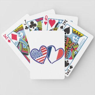 Liebe-Herzen USA Frankreich Bicycle Spielkarten