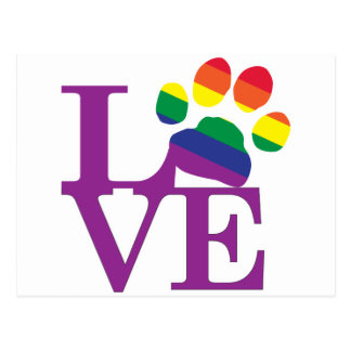 Liebe-Homosexuell-Pawprint Postkarte