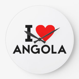Liebe I Angola-Landnationsherz-Symboltext Große Wanduhr