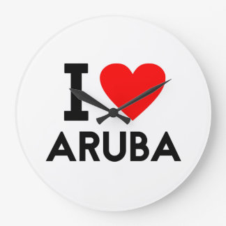 Liebe I Aruba-Landnationsherz-Symboltext Große Wanduhr